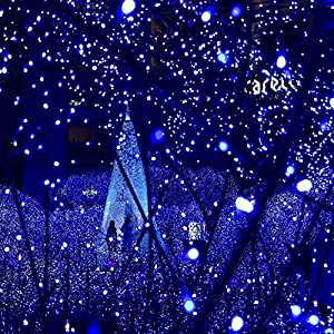 [All-New 200 LEDs]LuckLED Solar LED Christmas Lights, 72ft Fairy Starry String Lights with Light Sensor for Outdoor, Gardens, Patio, Wedding, Christmas Party and Holiday decor(Blue)