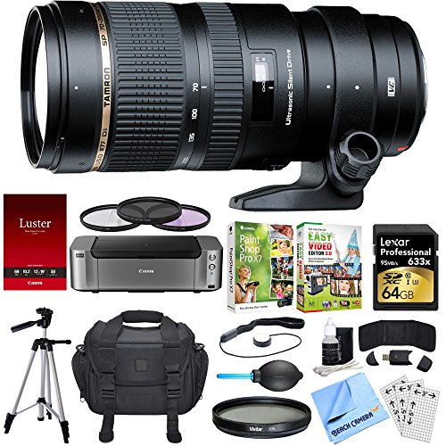 Tamron SP 70-200mm F/2.8 DI VC USD Telephoto Zoom Lens Sony Dual Mail in Rebate Bundle includes Lens, PIXMA PRO-100 Printer, Corel Paint Shop Pro X7, 64GB SDXC Memory Card, Beach Camera Cloth + More