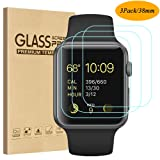 Tourist [3 Pack] Compatible for Apple Watch Tempered Glass Screen Protecto 38mm Series 3 / 2 / 1, 9H Hardness, Anti-scratch, Anti-fingerprint, Anti-bubble Easy Installation with Lifetime Replacements (Color: 3Pack, Tamaño: 38mm)