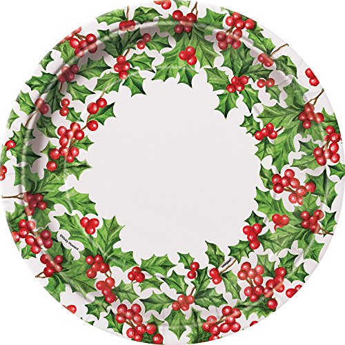 Holly Garland Holiday Dinner Plates, 8ct
