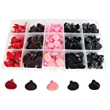 Bestartstore 140pcs 11/14/15/16mm 4colors Plastic Flocking D-type Animal Safety Nose for Bear, Doll, Dog,Puppet, Plush Animal Making and DIY Craft (Color: Pink)