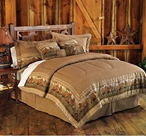 7 Pieces Light Brown Jacquard Wild Horse Comforter Set Bed-in-a-bag for King Size Bedding