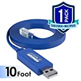 CableRack 10ft Cisco USB Console Cable with FTDI Chipset USB to RJ45 Cable for Linksys Ubiquity Juniper and HP Rollover Console Cable (1-Pack) (Tamaño: 10 Foot USB to RJ45 Cable)