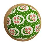 GAMESPFF Round Pin Cushion with Wooden Base and Printed Floral Fabric Coated for Daily Needlework (Green) (Color: Green)