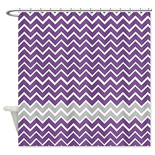 Purple and Gray Chevron Stripes Shower Curtain