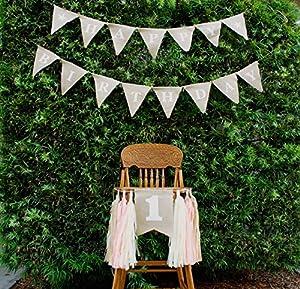 FIRST Birthday Baby Girl Rustic High Chair Burlap Banner PINK by Bleubird