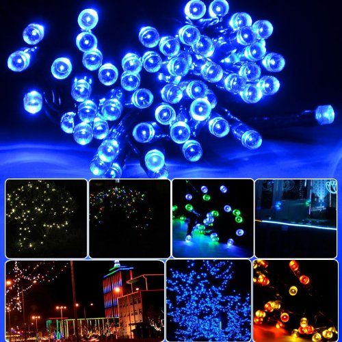 Lycheers Solar Christmas String Solar Fairy String Lights For Outdoor Room Garden Home Christmas Party Decoration Waterproof (Blue, 17M 100Leds)