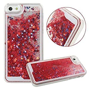 Luxury 3D Glitter Bling Star Waterfall Back Cover Case For iPhone 5/5S ( Red Glitter) by ROKAYA