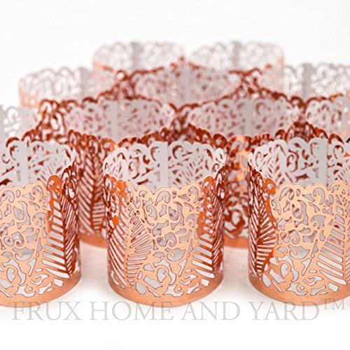 FLAMELESS TEA LIGHT VOTIVE WRAPS- 48 Copper colored laser cut decorative wraps for Frux Home and Yard Flickering LED Battery Tealight Candles