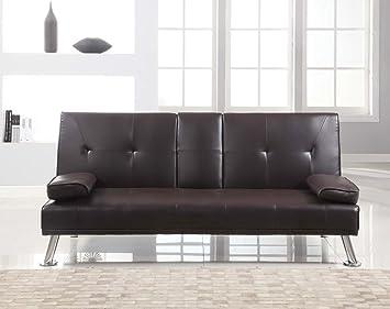 Barato Cine Manhattan Piel Sintética Sofá cama / sofá cama con Taza Candelabro - Marron