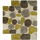 Chesapeake 2-Piece Pebbles 21-Inch by 34-Inch and 24-Inch by 40-Inch Bath Rug Set, New Willow