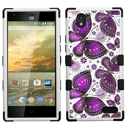 Click to buy For HTC Desire 625 (Cricket) 3-Layer Armor Hybrid Rugged Silicone Case Cover FancyGuard+[WORLD ACC®] (Purple Butterfly/Black) - From only $10.99