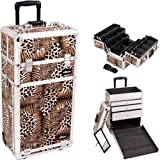 30.5 inch Leopard Print Silver Aluminum Finish Professional 2 in 1 Rolling Wheeled Makeup Train Case Cosmetics Organizer w/ 3 Drawers + 6 Extendable Trays by MyGift