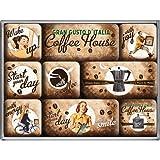 Nostalgic-Art-Coffe-House-Ensemble-de-9-magnets-pour-le-frigo-aux-motifs-rtro