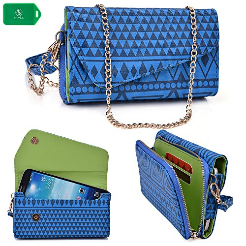 Samsung Galaxy Mega ( Metro Pcs, Sprint, T-Mobile, All Carriers) Ladies Universal Phone Holder Clutch | Removable Wristlet Strap And Bonus Crossbody Chain Included | Electric Blue In Tribal Print