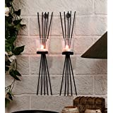TiedRibbons® Wall Sconce / T Light Holder Pack Of 2(Black, Metal)