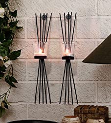 TIEDRIBBONS Gift for diwali Decorative wall Sconce Pack of 2(Black, Metal) with T-light Candle