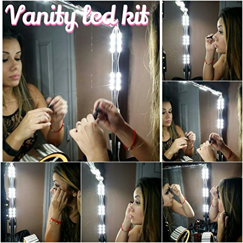 Make-up Vanity LED Kit / Mirror Kit, 10 LED Vanity Lights + Dimming Switch & LED provided by Samsung (Make Up Lighting compare prices)