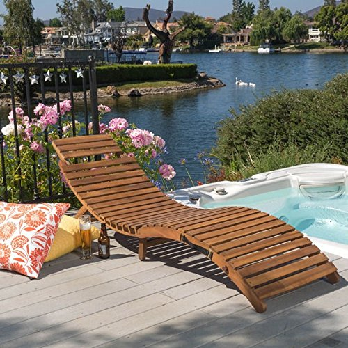 Christopher Knight Home Lahaina Outdoor Acacia Wood Chaise Lounge (Wooden Rolling Cooler compare prices)