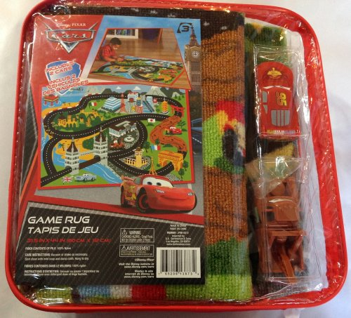 Disney Pixar Cars World Grand Prix Game Rug Includes 2 Cars (Lightning Mcqueen and Mater)