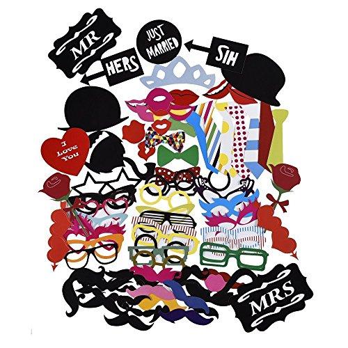 88pcs Accessoires Photobooth Masquerade Accessoires de Photos Lèvre/ Lunettes/ Cravate/ Couronne/ Lunettes/ Moustache Avec Bâton