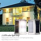 DBPOWER 2pcs LED Stainless Steel Staircase LED Solar Step Lights, Solar Dock Light£¬Solar Powered 1.2V/600mAh AA Ni-MH 3000-3500K (Warm White Light)