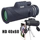 40x60 Monocular Telescope, High-powered BAK4 Prism Low Night Vision Waterproof Fog-proof Smartphone Adapter Tripod Holder for Bird Watching Hunting Camping Hiking Travelling (Color: Black)