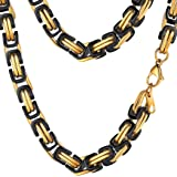PROSTEEL 8MM Stainless Steel Necklace Men Jewelry Vintage Byzantine Chain Link Gold Black Tone Rock Punk Chunky Necklace,24 Inches (Color: 0.31inch(8mm)-black)