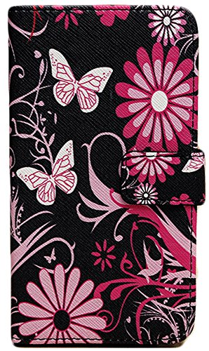Images for myLife Black and Pink {Spring Butterflies and Flowers Design} Faux Leather (Card, Cash and ID Holder + Magnetic Closing) Slim Wallet for Galaxy Note 3 Smartphone by Samsung (External Textured Synthetic Leather with Magnetic Clip + Internal Secure Snap In Closure Hard Rubberized Bumper Holder)