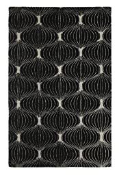 Area Rug, Black Geometric Trellis Wool Handmade Carpet, 4-Feet X 6-Feet