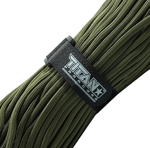 TITAN MIL-SPEC 550 Paracord / Parachute Cord, Olive Drab, 103 Continuous Feet, 620 lb. Breaking Strength - Authentic MIL-C-5040, Type III, 7 Strand, 5/32