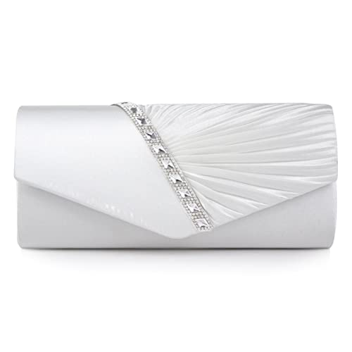 Damara Womens Pleated Crystal-Studded Satin Handbag Evening Clutch,White