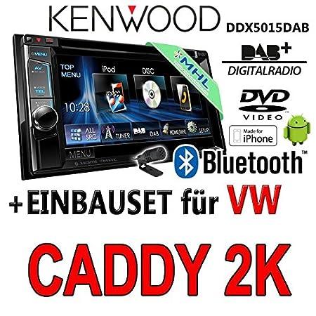Volkswagen caddy 2-k kenwood dDX5015DAB 2-dIN multimédia uSB mHL kit de montage d'autoradio dAB