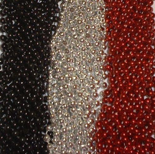 [72 Red Silver Black Mardi Gras Gra Beads Necklaces Party Favors 6 Doz Lot Pirate] (Mens Mardi Gras Costumes Ideas)
