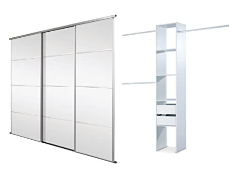 Triple, 4 Panel Silver Framed Mirror, Sliding Wardrobe Door Kit. Up to 2692mm (8ft 10ins) wide.