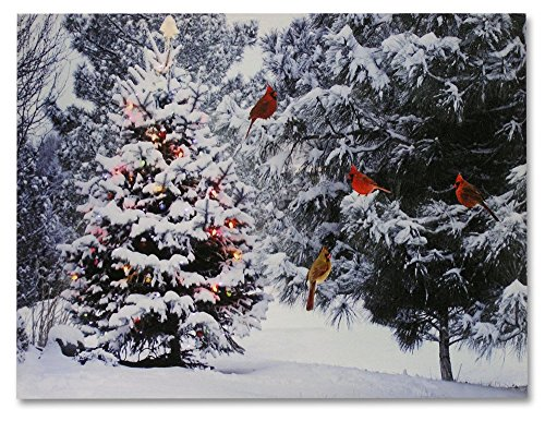 Christmas Tree & Cardinal Birds LED Canvas Print - Snowy Winter Forest Pine Trees Scene - Lighted Picture - Wall Art with Battery Operated Led Lights (Picture Tree For Wall compare prices)