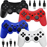 Wireless Controllers for PS3 Playstation 3 Dual Shock, Bluetooth Remote Joystick Gamepad for Six-axis with Charging Cable,Pack of 4 (Black,White,Blue,Red) (Color: Black,Blue,Red,White)