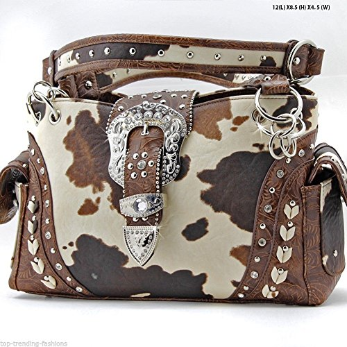 Western Cowgirl Concealed Carry Weapon Gun Purse Handbag Cow Print Brown Belt Buckle