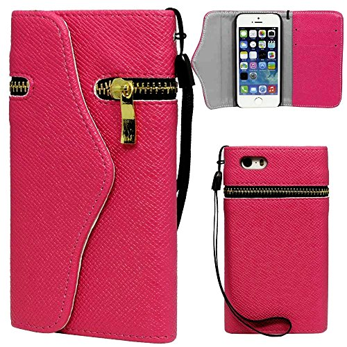 Mylife Hot Pink Luxury Zipper Design - Textured Koskin Faux Leather (Card And Id Holder + Magnetic Detachable Closing) Slim Wallet For Iphone 5/5S (5G) 5Th Generation Smartphone By Apple (External Rugged Synthetic Leather With Magnetic Clip + Internal Sec