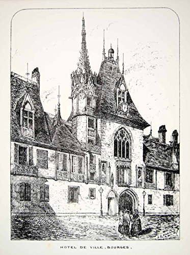 1871 Lithograph ER Blatchley Art Hotel Ville Bourges France Europe Travel ZZ10 - Original Lithograph (Hotel A Bourges compare prices)