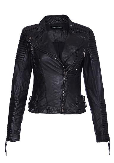 Lookbook Store® Damen Schulterpolster Quilted Echte Schaffell Leder Schwarz Jacken
