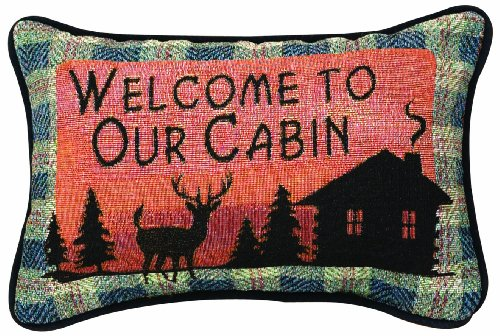 Manual Bear Lodge Throw Pillow, 12.5 X 8.5-Inch, Welcome to Our Cabin