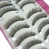 Bluelans 10 Pairs Long Cross False Eyelashes Fake Thick Black Eye Lashes