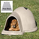 Petmate Indigo Dog House with FREE Dog Door - Tan - Extra Large - (51.5L x 39.3W x 30H in.)