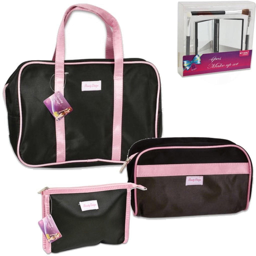 Cosmetic Toiletry Bag Gift Set – 3-Piece Black With Pink Trim Bag Set 1 Small Bag (7.5 In X 5.5) 1 Medium Bag (10 In X 6.5) And 1 Large Bag (11.5 In X 8.5 In) Make-Up