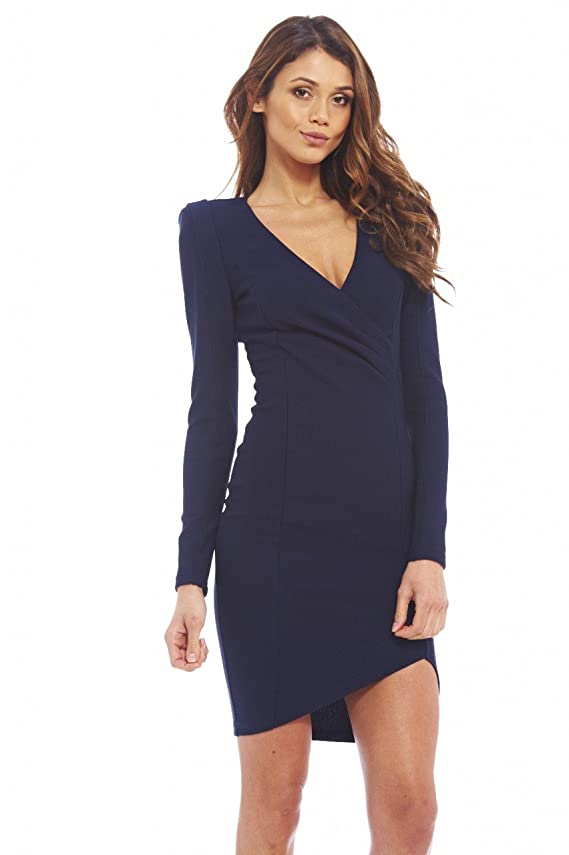 AX Paris Women's Wrap Front Long Sleeved Dress