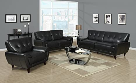 Black Bonded Leather / Match Sofa by Monarch