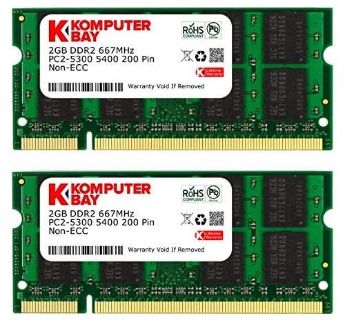 Komputerbay 4GB 2X 2GB DDR2 667MHz PC2-5300 PC2-5400 DDR2 667 (200 PIN) SODIMM Laptop Memory (Memory 5300 compare prices)