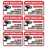 (6 Pack) Video Surveillance Sign - Decal Self Adhesive