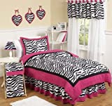 Hot Pink, Black & White Funky Zebra Teen Bedding 3pc Full / Queen Set